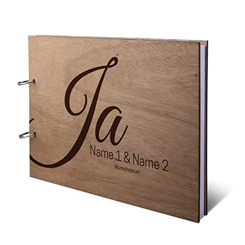 Hochzeit Gästebuch Okoume Holz Gravur individuell Holzcover mit 144 Naturpapier Innenseiten DIN A4 quer 302 x 215 mm - Ja