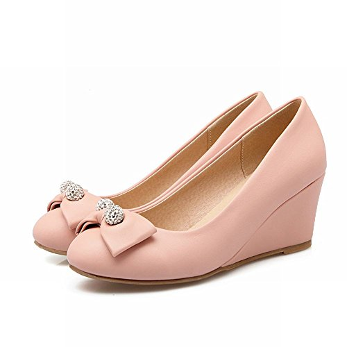 Mee Mee Pumps Shoes Strass Shoes Damen Keilabsatz runde Pink wgzBFqSd