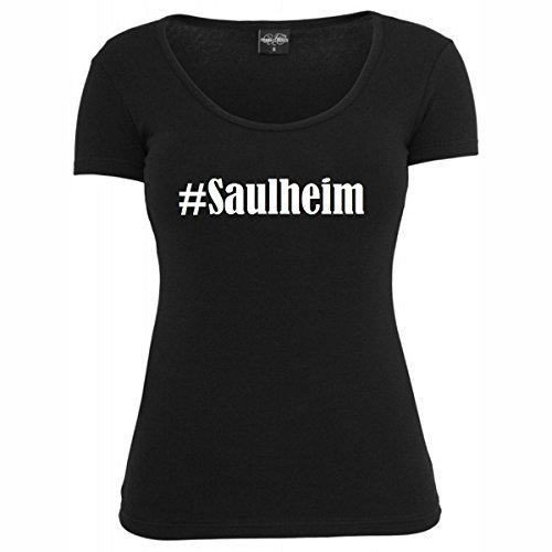 T-Shirt #Saulheim Hashtag Raute für Damen Herren und Kinder ... in den Farben Schwarz und Weiss Schwarz