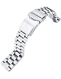 20mm Endmill Solid 316L Stainless Steel Watch Bracelet, Straight End, Button Chamfer