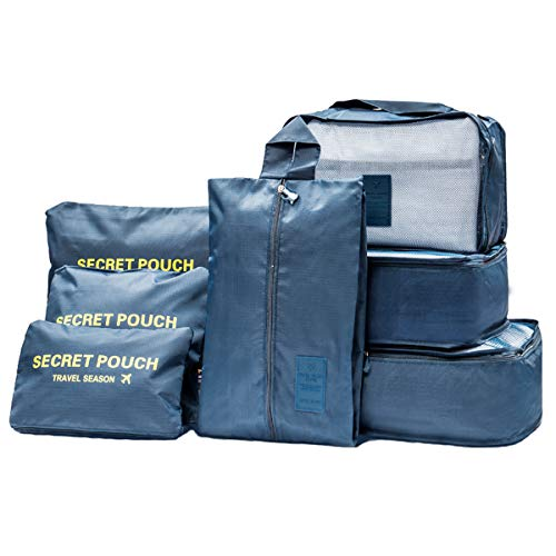 Meowoo 7 set organizzatori di viaggio organizer valigia viaggio travel organizer bag cubi da viaggio,Perfetto di Viaggio Dei Bagagli Organizzatore (navy blu)