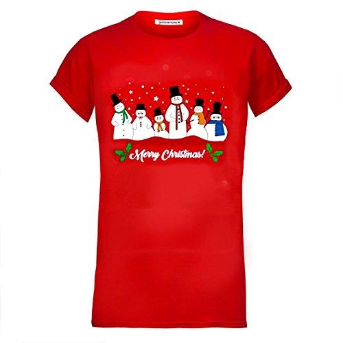 Janisramone Donne Le signore Nuovo Novità natale Babbo Renna Stampare Tee Corto Manica Natale Maglietta Cima Rosso - Pupazzo di neve Famiglia