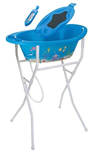 Rotho Babydesign 21039012501 ideale Badelösung Style Set2 mit Wannenständer höhenverstellbar Ocean