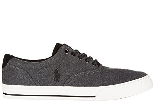 Polo Ralph Lauren Chaussures Baskets Sneakers Homme en Coton Vaughn Gris