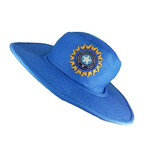 TyranT Team India Cricket Umpire Hat | Cotton Material Blue Color Indian ODI, IPL, T20 Bcci Panama Sports Hats for Men and Women | Cricketer Accessories Round Atmos Wide Brim Caps