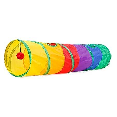 Beito Cat Tunnel Pet Schlauch zusammenlegbaren Spiel Spielzeug Indoor Outdoor Kitty Welpen Spielzeug für Puzzle Trainieren Verstecken Training und Rennen mit Spaß-Ball und Zwei Peek 45″x 10″