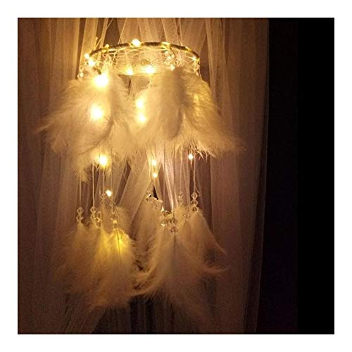 7°MR Atrapasueños LED Dream Catcher Plumas Blancas románticas Dream Catcher Lámpara Colgante LED de Cadena Colgante