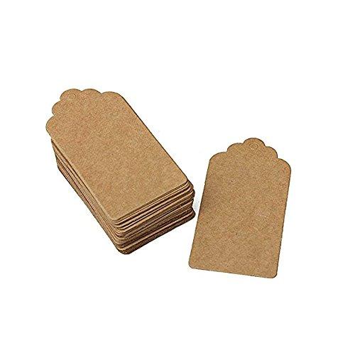 e-sunny 100PCS Geschenk Tags Hot verkaufen Kraft Paper Tags DIY für Geburtstag Hochzeit Party Scallop Papier Tag Geschenk Namen Karten Preis Label Karte Tag braun