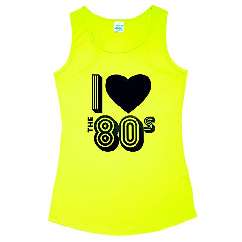 * NEW * Women's Electric Yellow I Love 80s Sports Fitness Vest