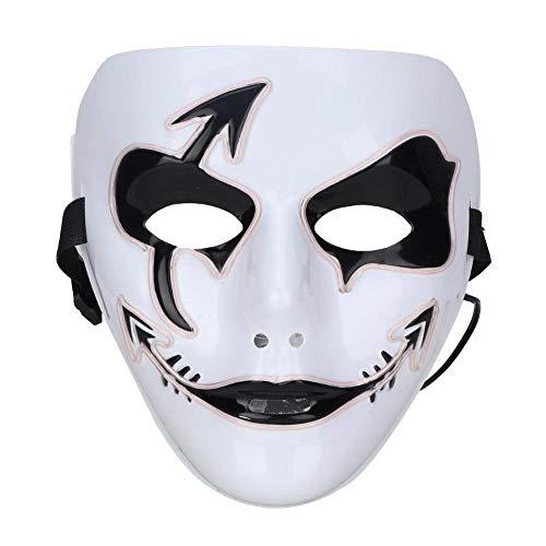 Kostüm Weißen Blendend - Masken für Erwachsene Halloween Scary LED Leuchten Glow Mask Kostüm für Party Prop Show Decor EL Kaltlicht Linie Maske Funny Horror Dance Graffiti Maske(Weiß)