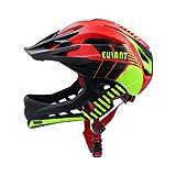 EULANT Kinder Fahrradhelm mit Kinnschutz Abnehmbar, Fullface Helm Kinder, Kinder Laufrad Helm für 2-10 Jahre,Passt für Kopfgröße 48-56, Rot M