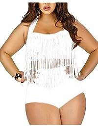 SaiDeng Mujer Elegante Push Up Tassels Oversize Retro Cintura Alta Dos Piezas Bikini Trajes De Baño