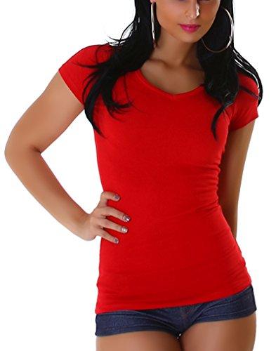 Jela London Damen Basic T-Shirt Slim-Fit Rundhals oder V-Ausschnitt Red (V-Ausschnitt)