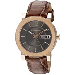 Wittnauer Men's Leather Band Gold Tone Steel Bracelet Quartz Grey Dial Analog Watch WN1002