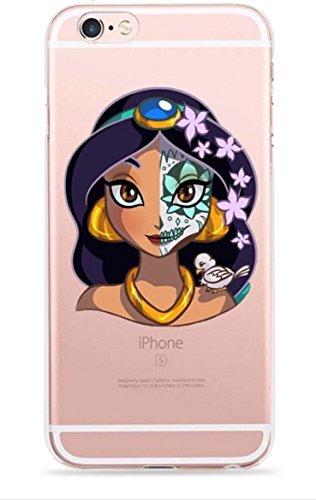 dünner Zucker-Schädel-Prinzessin-Tag des toten freien transparenten TPU Silikon-Zombie-Karikatur-Fall-u. Schirm-Schutzes Hülle Abdeckung Haut tascen (iPhone 5 5s SE, 5. Jasmine) ()