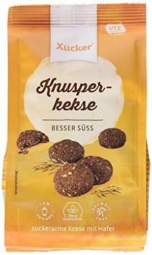 Xucker Knusperkekse mit Hafer und Xylit-Vollmilchschokolade, zuckerarme Xylit-Hafer-Schokokekse, 6er Pack (6 x 125 g)