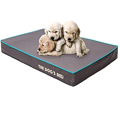 The Dog's Bed, Premium Orthopedic Memory Foam Waterproof Dog Beds, Many Colors/Sizes, Helps Ease Pain of Arthritis & Hip Dysplasia, Therapeutic & Supportive Bed, Washable Quality Oxford Fabric Cover - Medium 71 x 48 x 10cm (Grey With Blue