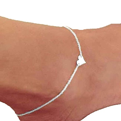 Ankle Bracelet,Saingace Women Lady Pretty Heart Ankle Chain Anklet Bracelet Barefoot Sandal Beach Foot Jewelry Toe Ring Anklet Chain Sparkly Ankle Bracelet (Silver)