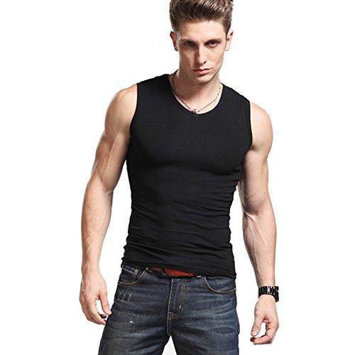 ZYHstore Herren Männer 100% Baumwolle Einfarbig V-Ausschnitt Ärmellos Ausgestattete Weste Elastische Muskel T Shirts Tank Tops Unterhemd Schwarz