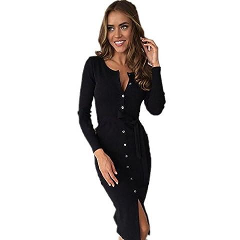 Byjia Mi-Longueur Manches Longues T-Shirt Loose Décontractée Club Night Party Mini Robe Féminine . Black . S