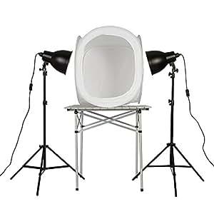 PhotoSEL PPC144 Kit pour Photo de Produit Lampe de Studio x 2 avec Trépied 55W + Boîte Lumière Tente 60cm