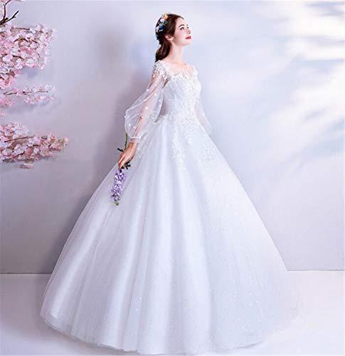 LYJFSZ-7 Robe de mariée mariée Vintage français élégante Princesse Manches Bouffantes en Dentelle Fleur Manches Longues Robe de mariée