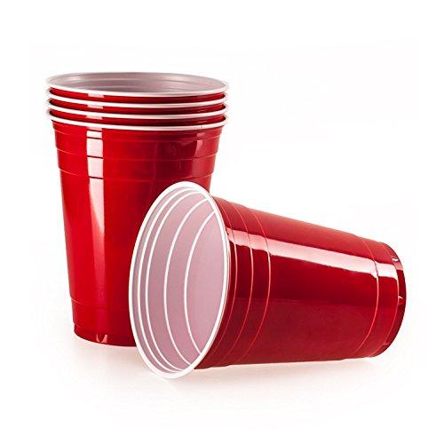 Ensemble de 100 Party Cups rouges pour jouer au Beer-Pong et autres jeux à boire. Gobelets américains jetables en plastique extra solide de 473ml. Réutilisables pour les fêtes. Par Vivaloo (100)