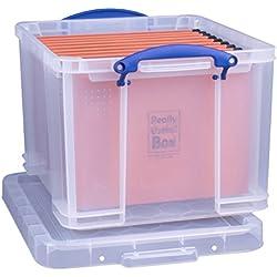 Really Useful Boîte de rangement Boîte de rangement de bureau avec 35L + 10dossiers suspendus-Transparent
