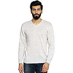 Duke Stardust Men Solid Sweater Beige Coloured Large