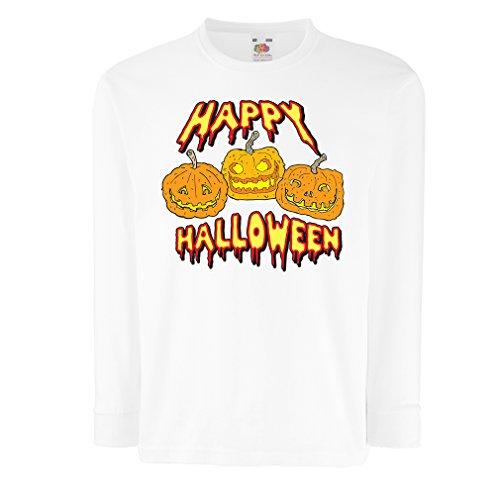 Kinder-T-Shirt mit langen Ärmeln Happy Halloween! Party Outfits & Costume - Gift Idea (7-8 years Weiß (Kreative Halloween Ideen Jungs Für Kostüm)
