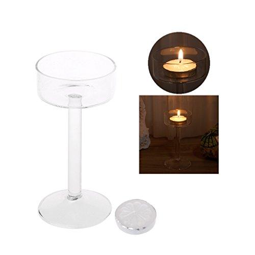 Hergon Wunderschöner Kerzenhalter, Kelch hoch Kristall Kerzenhalter Hochzeit Party Dekoration (Charting-tools)
