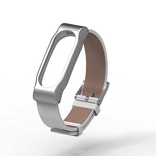 Xiaomi Mi Band 2 Polso Cinturino in metallo Pinhen pelle La cinghia di vita cinghia di metallo & Shell protettivo per Xiaomi Mi Banda 2 intelligente Miband Bracciale (Leather White)