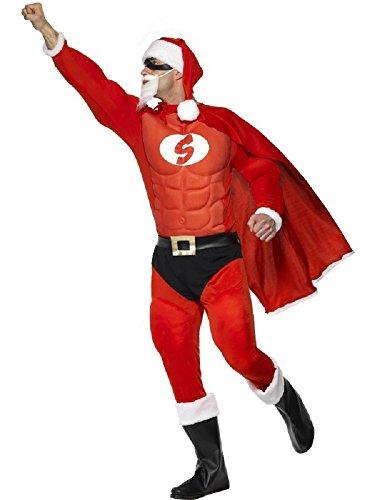 Fancy Me Uomo 8 pezzi super eroe Babbo Natale Renna Rudolph Natale Babbo Natale DA FESTA COSTUME VESTITO - Super Babbo Natale, Medium