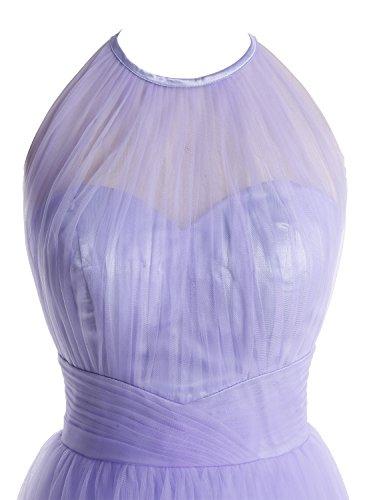 Bbonlinedress Robe de cérémonie et de demoiselle d'honneur A-line plissée dos nu sans manches et strass longueur ras du sol en tulle Bordeaux