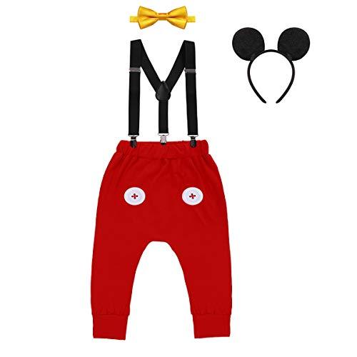 IWEMEK Baby 1. Geburtstag Kostüm Jungen Mouse Karneval Cosplay Outfit Hosenträger Lange Hosen mit Fliege Maus Ohren Stirnband 4pcs Bekleidungssets Fotoshooting Halloween 04 12-18 Monate