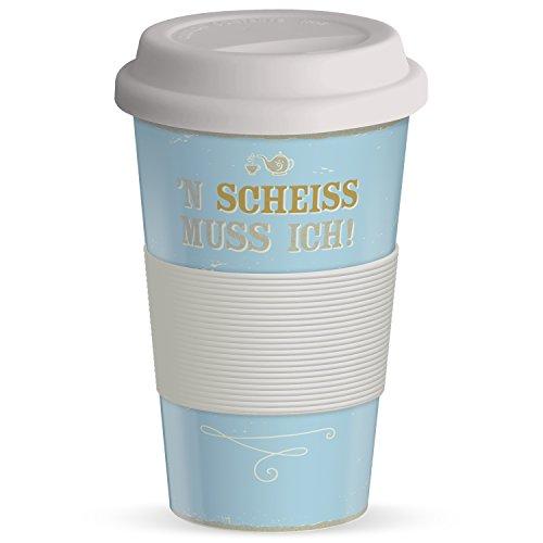 H:)PPYlife to Go Gobelet 'n Scheiss Je Dois avec Couvercle en Silicone et Wärms chutz, 40 cL, Bambou, Multicolore, 9 cm
