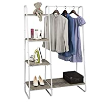EUGAD Heavy Duty Clothes Rail Metal Coat Stands with Shoe Rack Storage Cabinet Wardrobe 4 Tiers Ladder Bookshelf Shelving Unit White Wood