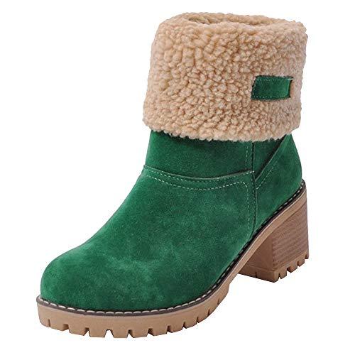 Poplover Damen Wildleder Ankle Booties Kurze Schneeschuhe Chunky Mid Heel Schuhe Grün 36 EU