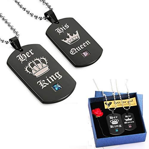 """Valentinstag Geschenke ein Paar Damen Herren Pärchen Anhänger mit Halskette , Edelstahl Dog Tag Anhänger mit Gravur """"His Queen"""" und """"Her King"""" schwarz weiss"""