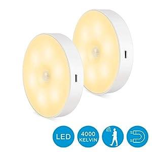 Zorara Nachtlicht mit Bewegungsmelder, 2 Stück Led Schranklicht USB Wiederaufladbar LED Sensor Licht Schrankbeleuchtung…
