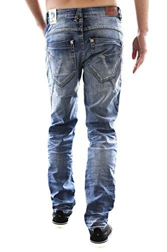 BLUE MONKEY Herren Jeans Slim Fit mit offener Knopfleiste Vin 4290 Blau