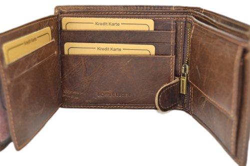 Herren Geldbörse Geldbeutel Portemonnaie Leder WILD, Farbe:Braun - 3