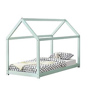 [en.casa] Kinderbett 90x200cm Mint Haus Holz Natur Bettenhaus Hausbett Kinderzimmer Bett Kinder Kiefernholz