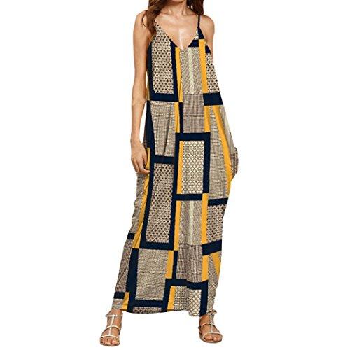 Familizo Women's Vintage V-Neck Harness Dress,Fashion Maxi Long Dress