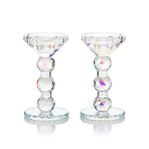 Online-Fuchs 2 Kerzenständer aus hochwertigem Kristallglas - Für Stupmenkerzen und Stabkerzen geeignet! - 2 in 1 Kerzenhalter