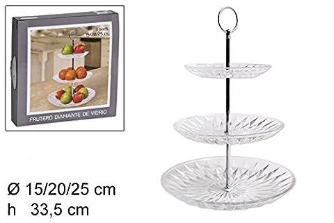 takestop® Mitte Tisch 3Etagen Etagere 15–20und 25cm Höhe 33,5cm Glas Diamant Etagere Tablett Kuchen Obst