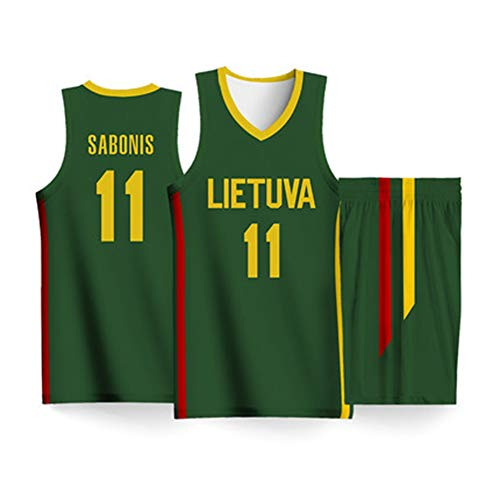 HS-XP Arvydas Sabonis # 11 Litauen Team-Basketballtrikots, Basketball-Swingman-Trikot, zweiteiliges Trägershirt-Set, Basketball-Weltmeisterschaft 2019,MoreSize