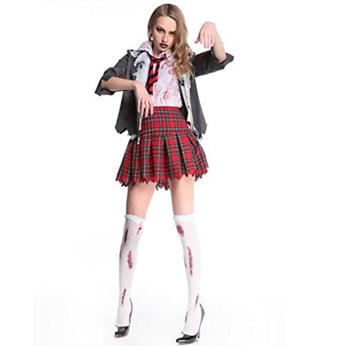 Z&X Weibliche Bühnen Performance Halloween Vierteilige Sexy Tänzer Scary Masquerade Mädchen Zombie Uniform Kostüme/Schul Stil Kostüm Ball Uniform Größe