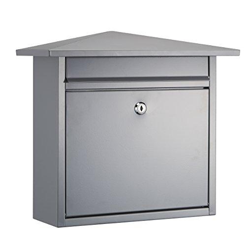 Mari home cassetta postale a muro a4   cassetta della posta, acciaio, per esterno   cassetta postale esterno con serratura e 2 chiavi   dim. 38 x 34 x 14 cm   fessura frontale 29 x 4 cm   grigio