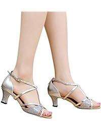 e75b22ef JiaMeng Sandalias Romanas De Punta Plana para Mujer Rumba Waltz Prom Ball  Salsa, Zapatos de